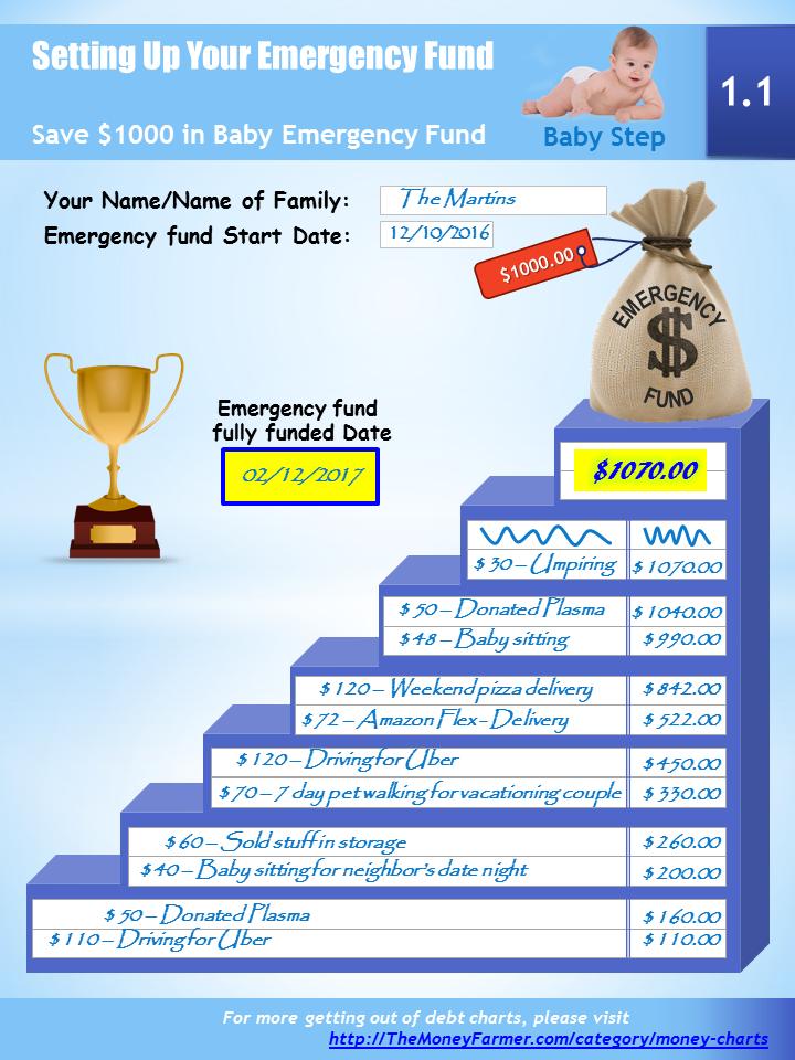 Emergency fund progress chart example